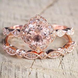 Rose Gold Engagement Wedding Ring Set 6 Cubic CZ